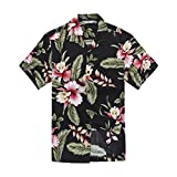 Hawaii Hangover's Camisa Hawaiana de los Hombres Camisa Hawaiana M Negro Rafelsia Floral