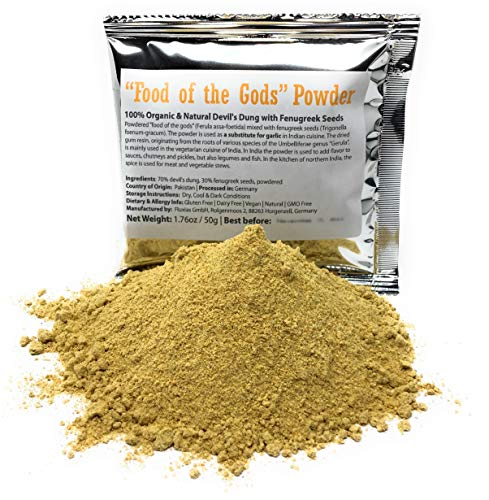 """Food of the Gods"" Asafetida Powder (Asafoetida / Hing) - 100% Organic & Natural Devil's Dung with Fenugreek Seeds - Net Weight: 1.76 Ounces / 50 Grams"