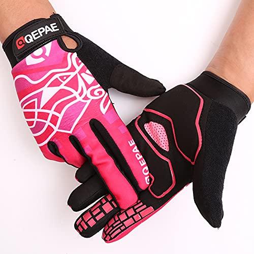 Guantes de Ciclismo para Hombre Guantes de Deportes al Aire Libre de Forro Polar de Silicona de Dedo Completo para mujer-Rosa-L-B187