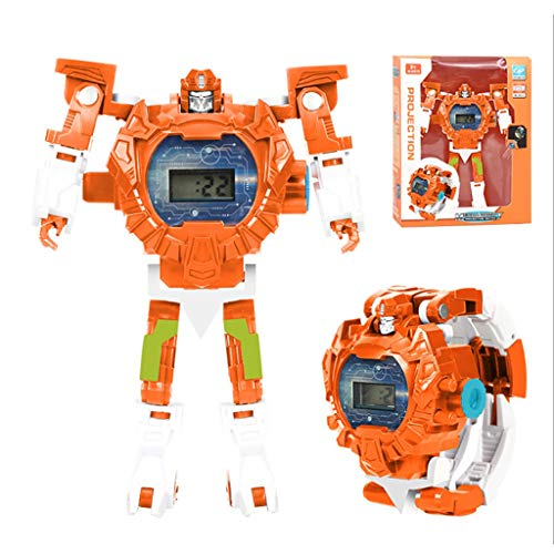 Hunpta@ Robot Toys Watch Kids 2 in 1 Electronic Transformers Toys,Puzzle Education Science Knowledge Projection Deformation Toy Electronic Watch Children's Gift 5-12 Years Old Boys and Girls (Orange)