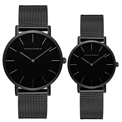 Kubagom Paar Uhren Analog Quarz Edelstahl Wasserdicht Mesh Ultradünne Set für Sie und Ihn (Schwarz Oberfläche,Schwarz Armband 2)