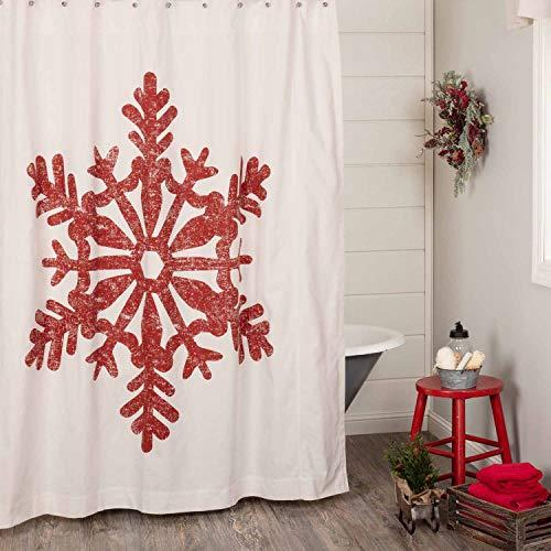 Duschvorhang, weihnachtliches Motiv mit roten Schneeflocken, 183 x 183 cm, Bauernhaus- oder Boho-Stil, Weihnachtsdekoration, Rot auf cremefarbenem Leinen