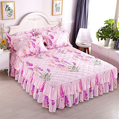 CQZM Verdicken Mit Rüschen Bettvolant Babybett rutschfest Gesteppter Bettrock Tagesdecke Single Double Bed Skirt Queen Schlafzimmer Wrap Around Style Bett RöckeD-120x200cm(47x79inch)