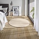 Teppich Wölkchen Waschbarer Teppich mit Anit-Rutsch I Flauschiger Kurzflor für Badezimmer, Kinderzimmer oder Flur Läufer I Einfarbig, Schadstoffgeprüft, Allergikergeeignet | Creme - 120 rund