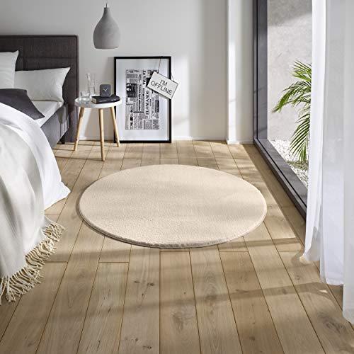 Teppich Wölkchen Waschbarer Teppich mit Anti-Rutsch I Flauschiger Kurzflor für Badezimmer, Kinderzimmer oder Flur Läufer I Einfarbig, Schadstoffgeprüft, Allergikergeeignet | Creme - 120 rund