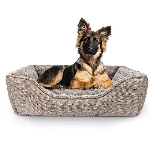 FURTIME Durable Dog Bed for Large Medium Small Dogs Soft Washable Pet Bed Breathable Rectangle Sleeping Bed Anti-Slip Bottom (29' x 23' x 9', Brown)