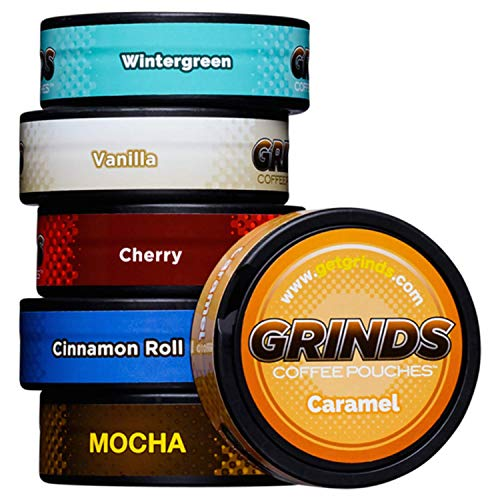 Grinds Coffee Pouches | New 6 Can Sampler | Wintergreen, Vanilla, Cherry, Cinnamon Roll, Mocha, Caramel| Tobacco & Nicotine Free Healthy Alternative | 1 Pouch eq. 1/4 Cup of Coffee (New 6 Can Sampler)