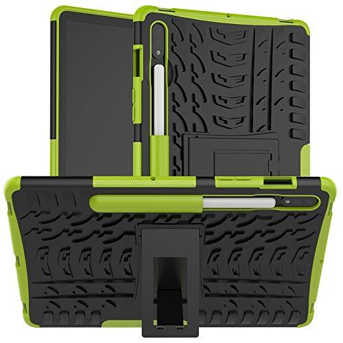 Funda protectora Cubierta de tableta para Samsung Galaxy Tab S7 SM-T870 / T875 / T878 11 pulgadas 2020 Textura de neumáticos TPU + PC Funda protectora con soporte de mango plegable ( Color : Green )