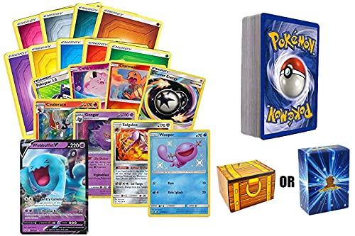 50 Assorted Pokemon Cards - 1 V Ultra Rare, 4 Holographic Cards, 5 Rare Cards, and 40 Common/Uncommon Cards Includes Golden Groundhog Treasure Chest Box