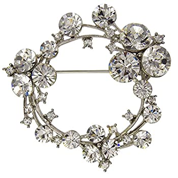 Circular Filigree Brooch Necklace Pendant  with Circular Crystals  White