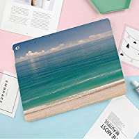 ipad mini4兼用ケース 超薄型 超軽量 TPU ソフト スマートカバー 2つ折り スタンド [オート スリープ/スリープ解除] (mini4)緑の水と青い空とビーチのレジャーCoastalline風景