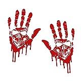 Finest Folia 2 Blutige Hände je 22cm Blutspuren Aufkleber Auto Sticker Frontscheibenaufkleber...