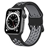 Marlova Compatible with Apple Watch Bands 44mm 42mm, Soft Silicone Breathable Air Hole Sport Wristbands with Classic Clasp for iWatch Series Se/6/5/4/3/2/1, Black/Grey 42mm 44mm (Watch Not Included)