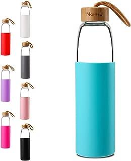 NERUB 22 OZ BPA Free Borosilicate Thick Glass Water Bottle with Bamboo Lid - Dishwasher Safe