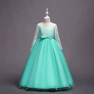 Luxury Tutu Skirt Girls Princess Lace Long-Sleeved Wedding Dress Princess Dress Performance Dress ryq (Color : Green, Size : 140cm)