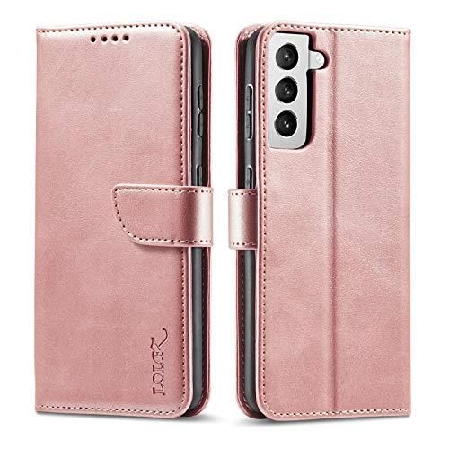 LOLFZ Hülle für Samsung Galaxy S21 Plus 5G, Premium Lederhülle mit Kartenfach Ständer Magnetische Flip Handyhülle Kompatibel mit Samsung S21 Plus 5G - Rosegold