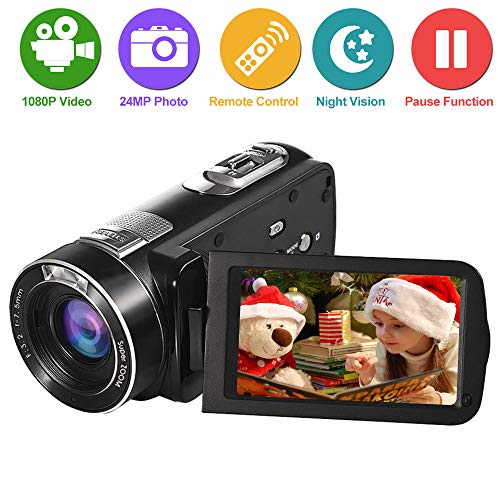 "Videocamara Videocámara Cámara de Video Full HD 1080p 24.0MP 18x Zoom Digital 3.0 "" LCD 270 °Pantalla de Rotación Camara Video con Control Remoto"