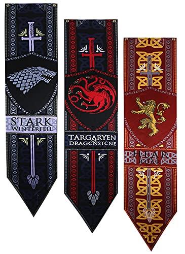 ZCWOLTM Fiesta de cumpleaños Canción de Hielo y Fuego Poster Juego de Tronos Banner Game of Throne Flag