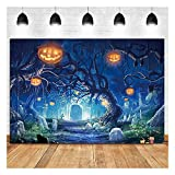 Halloween Themed Photo Background 7x5ft Forest Scary Moon Night Spooky Forest Pumpkins Jack Lantern Kids Birthday Party Before Xmas Baby Shower Photography Backdrops Photo Props Vinyl