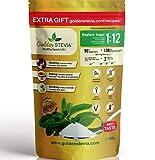 Edulcorante Golden Stevia 90g=1kg azucar endulzante mas 1:12 de azucar de abedul, stevia pura para diabeticos, dieta cetogenica, stevia 100 natural polvo de hornear con harina de almendra
