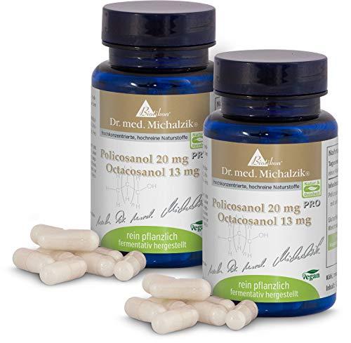 Policosanol - 20 mg por + Octacosanol 13 mg por cápsula - 120 cápsulas - puramente vegetal - fermentativo producido - según el Dr. medicina Michalzik - sin aditivos - de BIOTIKON®