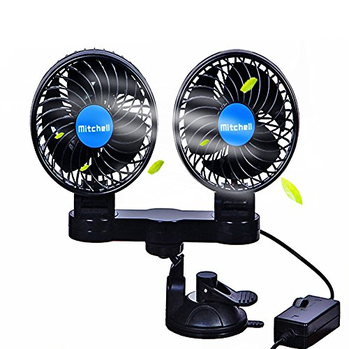 Dual Head 12V Electric Car Fan with Suction Cup,360 Degree Electric Cooling Quiet Speedless Car Fans with Cigarette Lighter Plug for for Cars, Trucks, and RV's