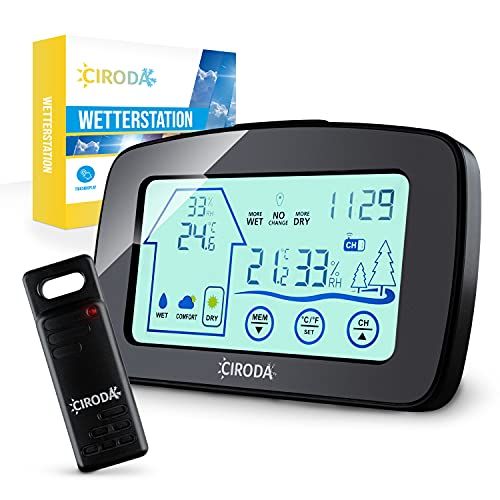 CIRODA | Wetterstation Funk mit Aussensensor & digitalem Touchdisplay [Reichweite 50M]– Memory Funktion & Hygrometer – Wasserdichtes Thermometer für Innen und Außen