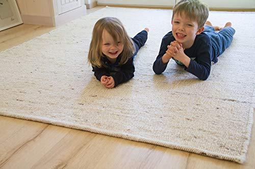 Steffensmeier Handweb Teppich Korinth | Gesunder Wollteppich | Beste Schurwolle | Natur Hell, handgewebt, Größe: 160x230 cm