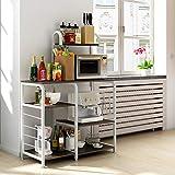 shamoluotuo Kitchen Baker's Rack 35.5' Microwave Stand 4-Tier+3-Tier Shelf for Spice Rack Organizer Utility Shelf Workstation w/ 5 Hooks Space Saving Kitchen Island Organizer (Black Walnut)