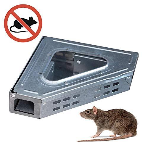 Trampa Para Ratones Multiuso Live Trap Trampa Para Ratones Vida Animal, Reutilizable, Reutilizable, 26x18x5 Cm, Adecuado Para Interiores Y Exteriores, Ventana De Visualización Triangular, Galvanizado