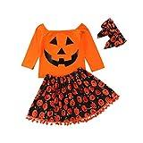 Taiduosheng Halloween-Kleid für Kleinkinder, Babys, Mädchen, Kürbis, Baumwolle, bedruckt, langärmelig, Oberteil, Rock und Handbänder, Outfit-Set Gr. (120 cm) 6 Jahre , Orange