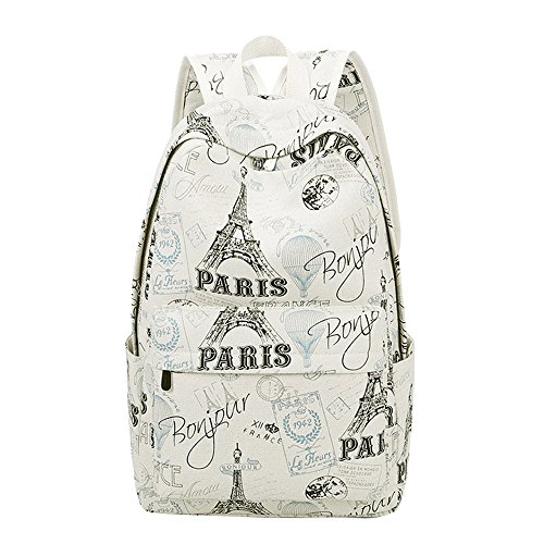 Fanci Eiffel Tower Prints Elementary School Rucksack Backpack for Teenage Girls Canvas Casual Daypack for Women