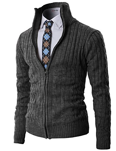 H2H Mens Casual Knitted Cardigan Zip-up with Twisted Pattern - US M (Asia L) - Kmocal017-charcoal