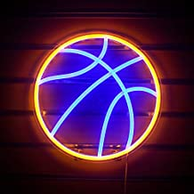 Basketball Neon Signs Basketball Led Neon Light Wall Neon Lights Cool Neon Sign for Room Bedroom Shop Christmas Birthday Signs Kids Gift(Blue Yellow)