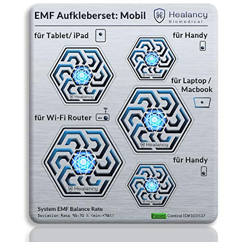 HEALANCY BIOMEDICAL - EMF protection special edition: set of 5 for mobile people – New: specially adapted protective sticker: mobile phone 2x, laptop/Macbook, tablet/iPad, WiFi router – 5G optimised.