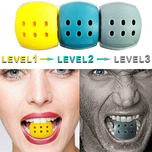 ZJXAM Jaw Line Exerciser Gesichts- Und Nackentoner Ausrüstung Stufe 1 2 3 Jaw Trainer, Jaw Exerciser Hals- / Gesichtston Jaw Line Übung Jaw Tone Definieren Sie Jawline Und Facial Toner (Gelb)