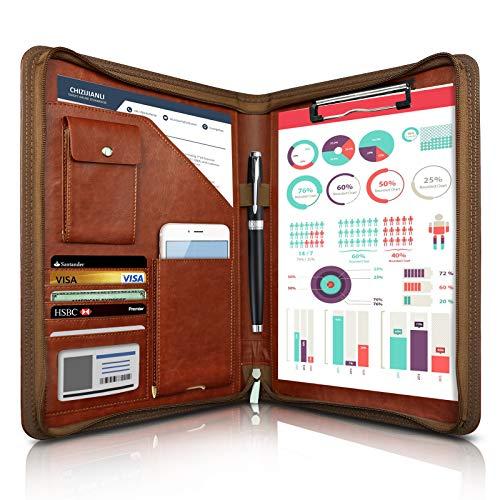 WOBEECO Cartella per Conferenze A4 in Pelle+Zipper, Portadocumenti con Tasche e Supporti di Carta per il Telefono, FolioCartelleSistemazione per Ufficio e Viaggio (Marrone)