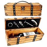 Yobansa Caja de madera envejecida con asa, caja para botellas de vino, caja de regalo de madera, tapa de vino, vertedor de vino, abridor de vino (5 unidades)