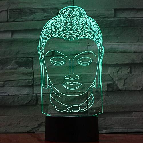 Nur 1 Stück USB 3d LED Nachtlicht Tathagata Figur Religion Gläubiger Buddhismus Sakyamuni Dekoratives Licht Mutter Mutter Geschenk Schreibtisch Lampe Schlafzimmer
