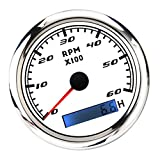 6000RPM Boat Tachometer Gauge for Marine Car Tacho Meter Waterproof with LCD Hourmeter Red Backlight for Outboard Car RV Truck 12V/24V 85MM