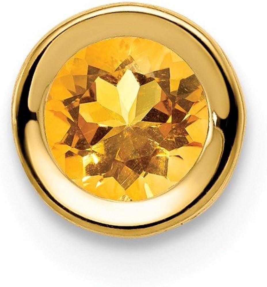Solid 14k Yellow Gold 5mm Citrine Yellow November Gemstone bezel Pendant Charm 6mm