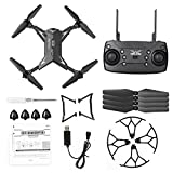 6SHINE Mini drone RC Quadcopter Pliable Quadcopter 4CH WIFI Télécommande 5MP HD Avec Appareil photo Avion RC Drone, Pas de zéro, Noir , 1 battery