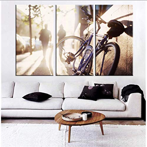 YJN HD afgedrukt fietspaar te voet bij zonsondergang olieverfschilderij muurkunst canvasdruk fiets poster familiedecoratie frameloos M $ 41 40 * 60 * 3