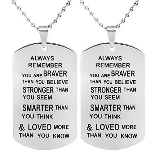ALoveSoul 2pcs Llamativo Collar–graduación Regalos Collar Siempre Recuerda You Are Braver Than You Believe Colgante de Las Mujeres