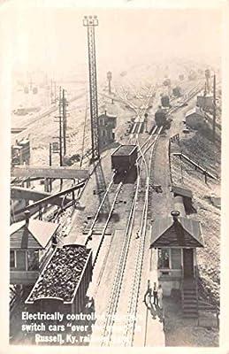 Russell Kentucky Photo Mining Cola Train Depot Station Antique Postcard RR155