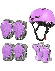 LANOVAGEAR Casco Infantil Set de Protección Casco Protección Patinaje 2-8 años Ajustable Rodilleras Coderas y Muñequeras para Patinaje Ciclismo Monopatín Skateboard