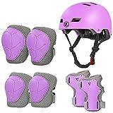 LANOVAGEAR Casco Infantil Set de Protección Casco Protección Patinaje 2-8 años Ajustable Rodilleras Coderas y Muñequeras para Patinaje Ciclismo Monopatín Skateboard (púrpura, S)