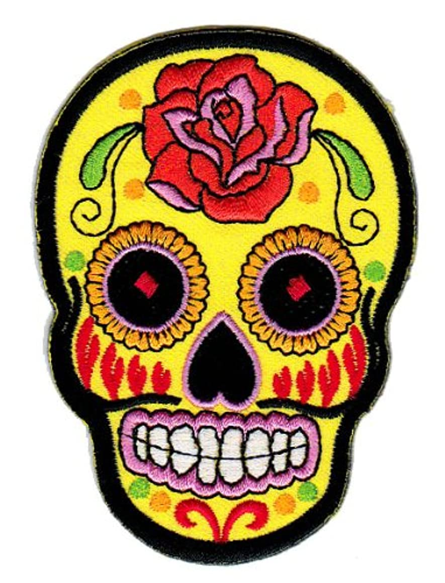 1 X Mexican Sugar Skull Tattoo Biker Sew-on Iron-on Patches Embroidered Applique Día De Los Muertos