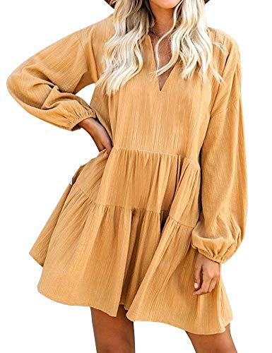 FANCYINN Womens Cute Shift Tunic Dress Babydoll Long Lantern Sleeves V Neck Beach Ruffles Mini Dresses & Pockets Mustard M