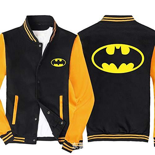 Shirts Sweat Vestes d'homme - DC Imprimé Sweat à Manches Longues Tenue De Baseball Zip Jacket - Cadeau Ados Black Yellow-XXXXL